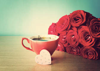 Vintage hand-painted heart with roses and coffee cup