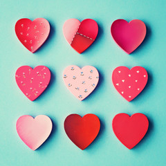 Hand-painted vintage hearts