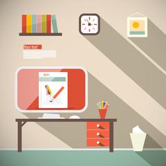 Office Vector Flat Design Illustration