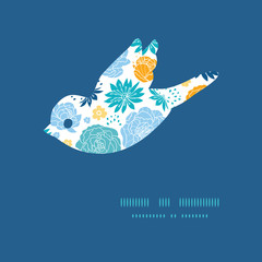 Vector blue and yellow flowersilhouettes bird silhouette pattern