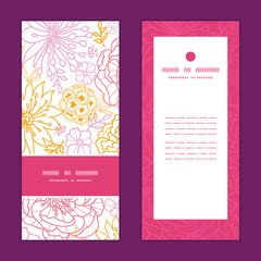 Vector flowers outlined vertical frame pattern invitation