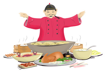 Chinese Cook with Hot Oriental Food. Chinese New Year concept or Oriental Restaurant theme. Isolated in White Background
