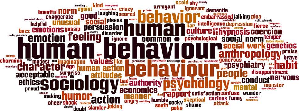 Human behaviour word cloud concept. Vector illustration