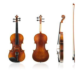 Old violin front, back and side view with violin bow.