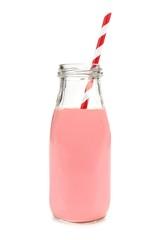 Printed kitchen splashbacks Milkshake Strawberry milk with straw in a bottle isolated