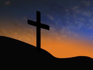 cross silhouette with sunrise christian symbol of resurrection