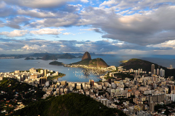 Rio de Janeiro view with Sugarloaf Mountain, Cloudy Sky