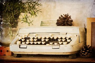 Old typewriter on sepia filter