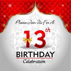 celebrating 13 years birthday, Golden red royal background