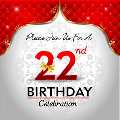 celebrating 22 years birthday, Golden red royal background