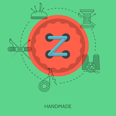 Flat illustration for handmade. Red button