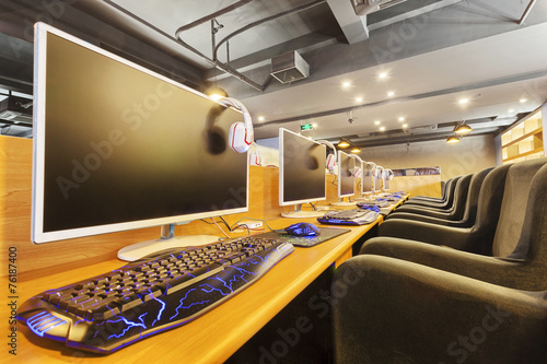 Modern internet cafe interior Stock photo and royaltyfree images