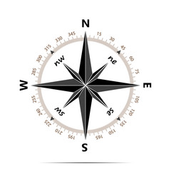 Compass with shadow on white background