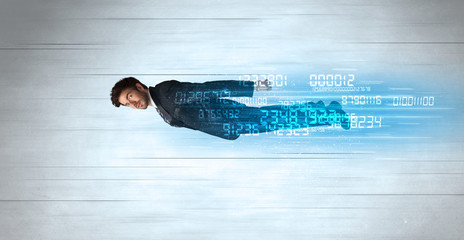 Businessman flying super fast with data numbers left behind