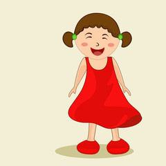 Character of a happy little girl in red dress.