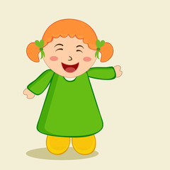 Character of a cute smiling girl in green and yellow dress.