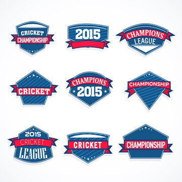 Cricket sticker, tag or label design in blue color with ribbon.
