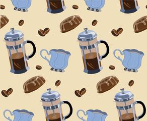 set make coffee  cup  bean coffee donut pattern