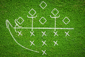 Football game plan on grass background