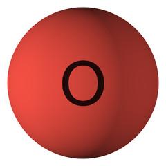 Oxygen atom isolated on white