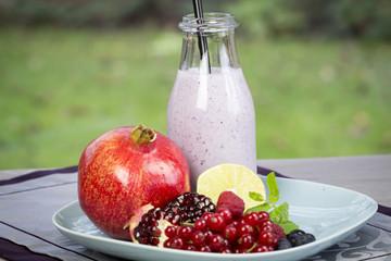 Fresh homemade fruity yogurt with assorted fruit