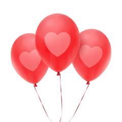 Three red balloons