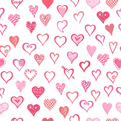 Hand drawn seamless pattern with cute hearts.