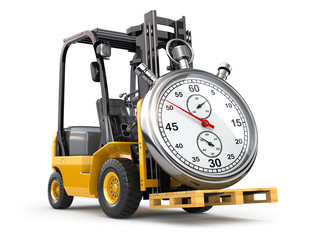 Wall Mural - Forklift truck with stopwatch .Express delivery concept.