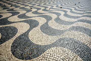 Portuguese Pavement in Rossio Square, Lisbon, Portugal