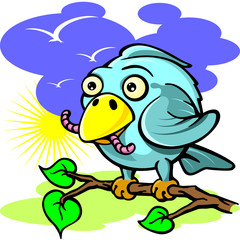 bird with a worm sits on a branch in the spring vector illustrat