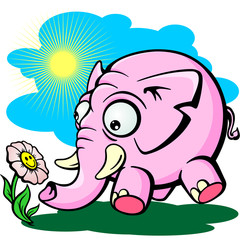funny illustration of a surprised looking at the elephant flower