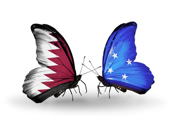 Two butterflies with flags Qatar and Micronesia
