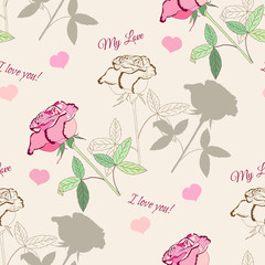 Seamless pattern with pink rose2-1