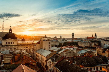 Photo sur Aluminium Europe de l Est Lviv city sunrise