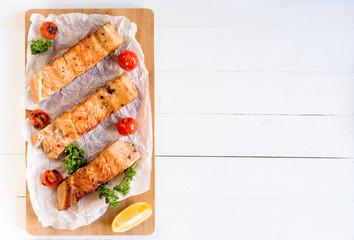 Served salamon fillets
