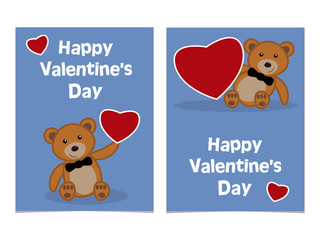Funny cartoon bear cub with red heart. Happy Valentines Day Card