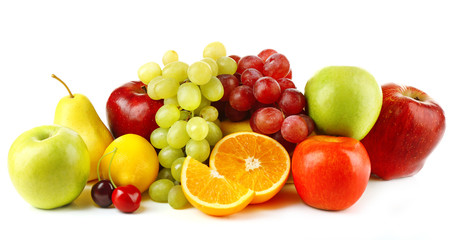 Photo sur Toile Fruits Ripe fruits isolated on white background