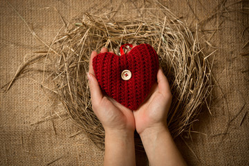 female holding red knitted heart in hands at nest