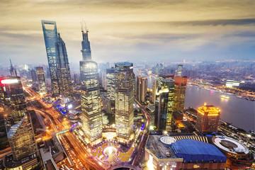 Garden Poster Shanghai shanghai lujiazui financial center aside the huangpu river.