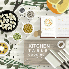 cooking materials on kitchen table in flat design