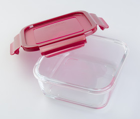 food containers on the background. glass food containers on the