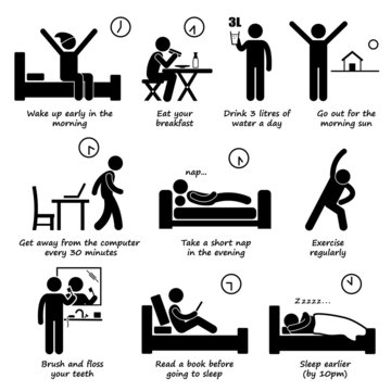 Healthy Lifestyles Daily Routine Tips Pictogram