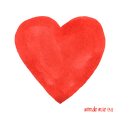 Watercolor red heart. Design element. Symbol love.