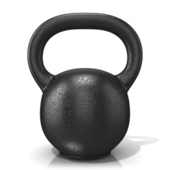 Rough cast iron kettle bell weight, isolated on a white