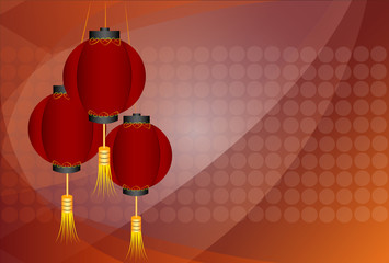 Chinese traditional red lanterns ,vector illustration