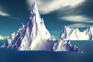 3D rendered fantasy alien planet. Iceberg
