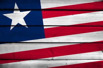 Liberia Flag on wood background