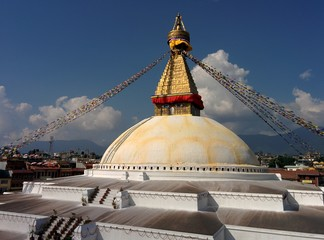 Stupa Boudhanath with sky and clouds in Kathmandu