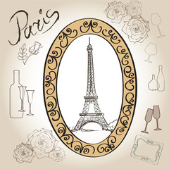 Paris eiffel tower. Paris symbol hand drawn picture in frame with design elements vector set. Love paris vintage frame.