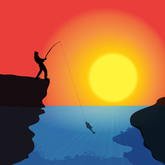 Vector silhouette of a fisherman